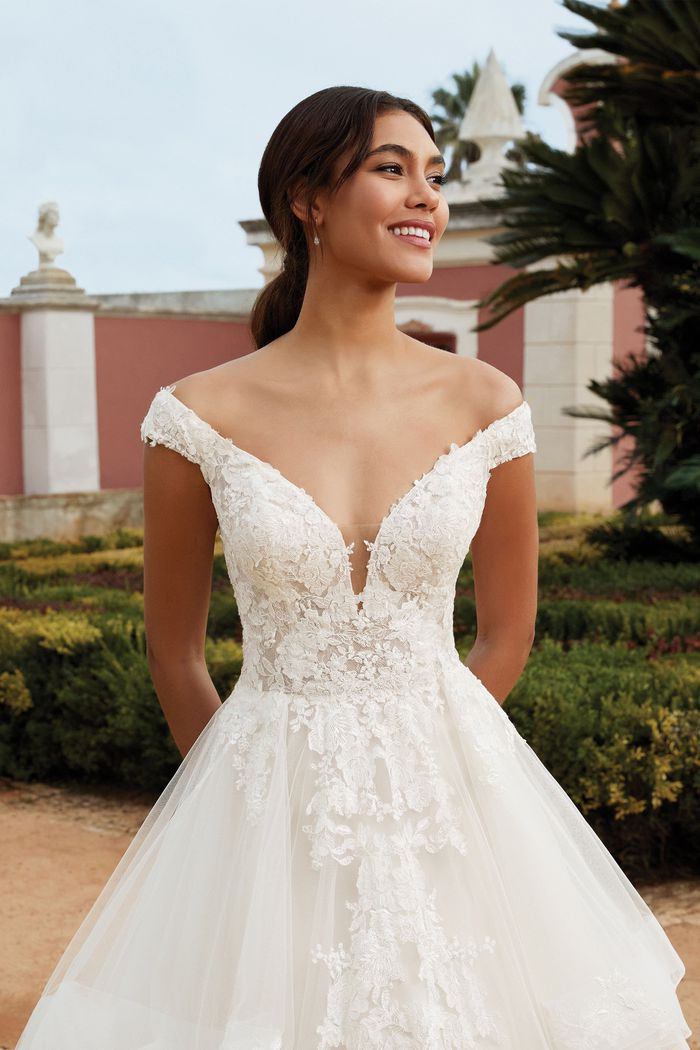 Sincerity Bridal Style 44248 Tiered Ruffle Skirt Ball Gown with Plunging Portrait Neckline