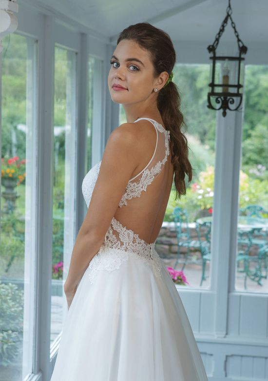 Sweetheart style 11056 Jewel Neckline A-line Gown with Venice Lace Bodice