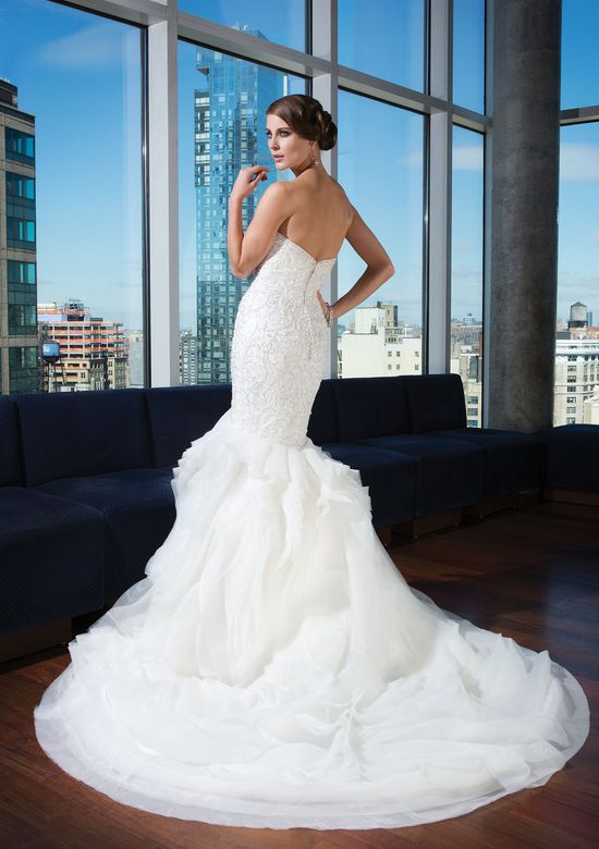 Justin Alexander Signature Style 9740 Beaded Mermaid Gown with Organza Skirt