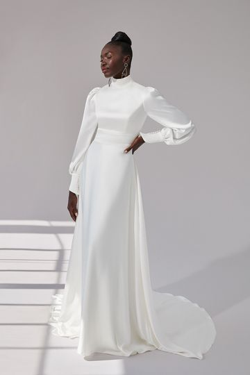 Justin Alexander Signature Style 99172 Hudson High Neck Charmeuse A-Line Gown with Blouson Sleeves