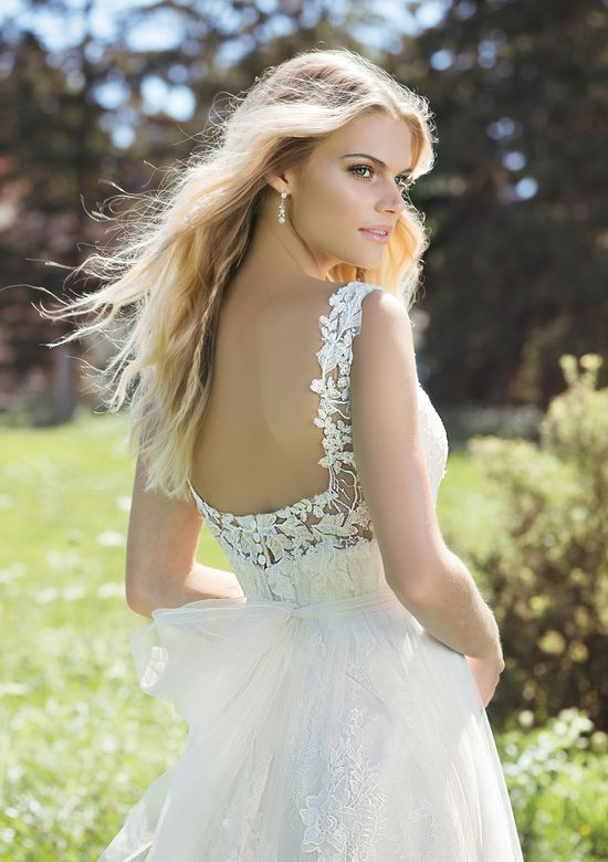 Lillian West Style 6475 Baby Doll Lace and Tulle Tea Length Gown Accented with Scattered Large Paillettes