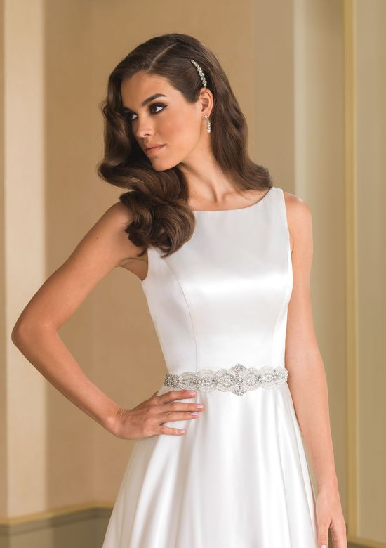 Justin Alexander Style 8866B Tulle Belt with Crystal Embellishments