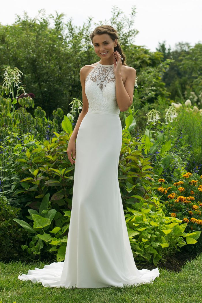 Sweetheart Gowns Style 11002 Fit and Flare with Lace Trim Jewel Neckline