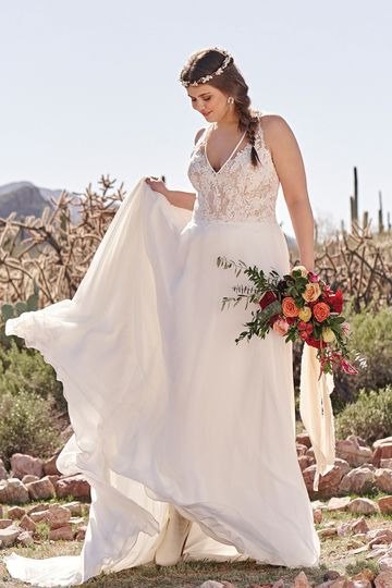 Lillian West Style 6515PS Chiffon A-line Plus Size Gown with Racerback and High Slit