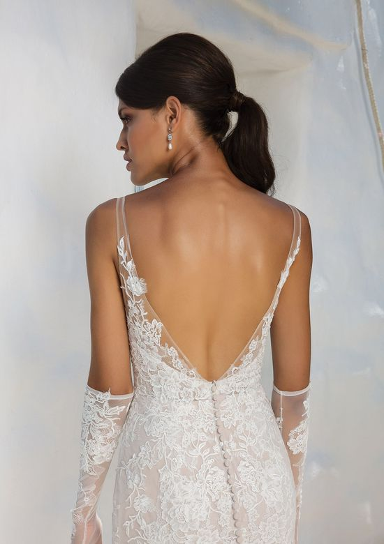 Justin Alexander Style 8961 Allover Lace Fit and Flare Gown with Illusion Straps and Deep V-Back