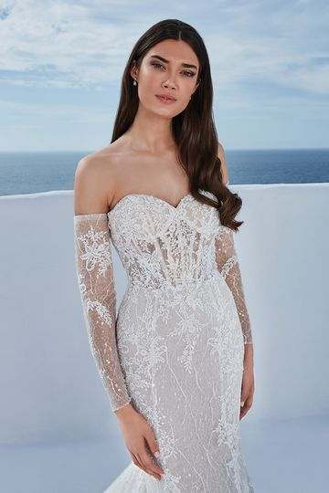 Justin Alexander Style 88197SL Berta Sleeves Off the Shoulder Long Sleeves with Lace and Sequin Tulle