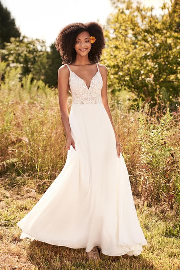 Lillian West Style 66181 Georgette and Lace A-Line Bridal Dress with V-Neckline