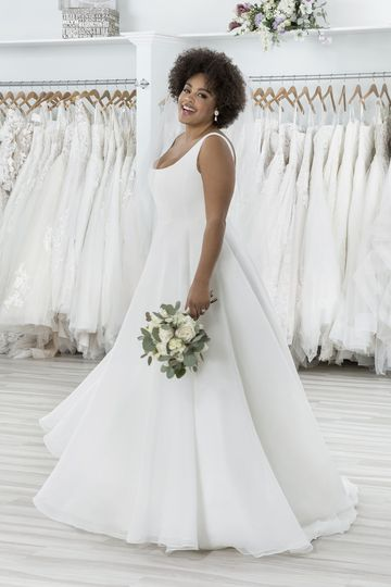 Sincerity Bridal Style 44269PS Organza Plus Size Ball Gown with Velvet Square Neckline
