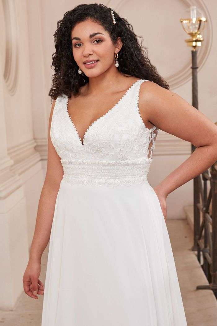 Adore by Justin Alexander Style11141PS Plus Size A-Line Gown with Chiffon Skirt