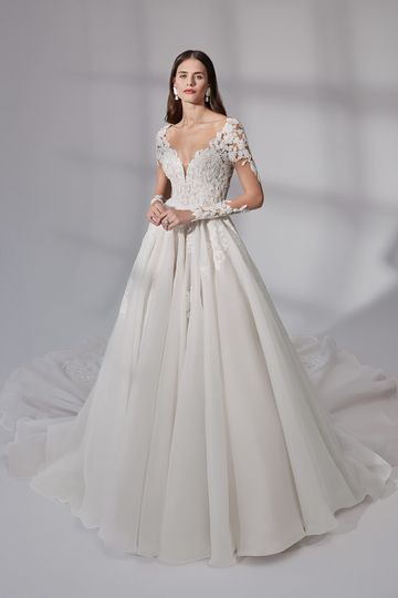 Justin Alexander Signature Style 99181 Milford Organza Ball Gown with Beaded Floral Appliqués