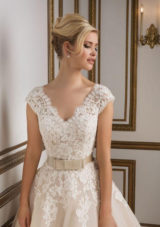 Justin Alexander Style 8815 Vintage-Inspired Champagne Tulle Tea Length Bridal Gown
