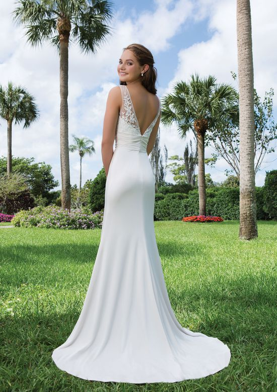 Sweetheart Gowns Style 6129 Lace, Jersey Straight complemented with a V-neck neckline