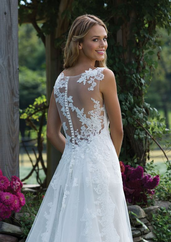 Sincerity Bridal Style 3976 Chantilly and Corded Lace Trumpet Dress with Detachable Train