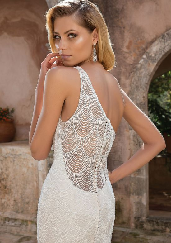 Justin Alexander style 88057 Beaded Chandelier Lace One Shoulder Gown