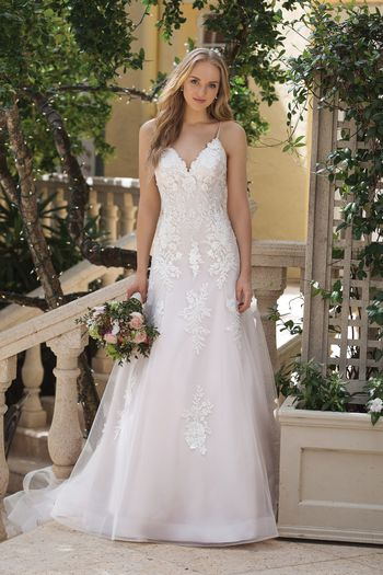 Sincerity style 44091 A-line Dress with Beaded Lace Appliques and Chapel Train