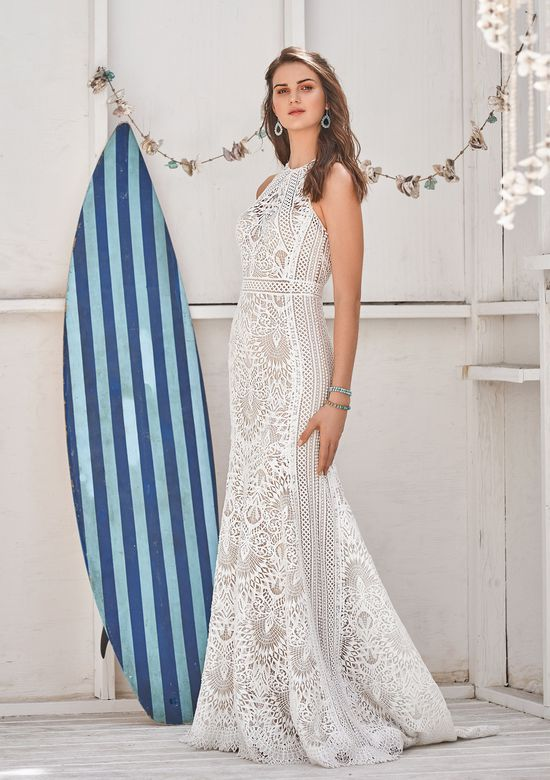 Lillian West Style 66055 Allover Lace Fit and Flare with Jewel Neck