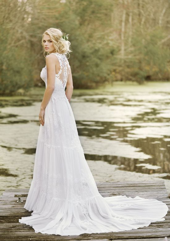 Lillian West Style 6447 Lace and Chiffon Gown with Illusion Back and Tiered Skirt