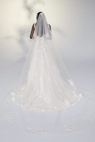 Justin Alexander Signature Style 99206V Gelsey Veil Cathedral Length Veil Adorned with Sequined Lace Appliqués