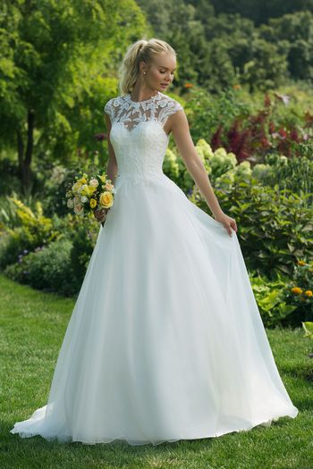 Sweetheart Gowns Style 11007 Ball Gown with Illusion Crew Neckline with Lace