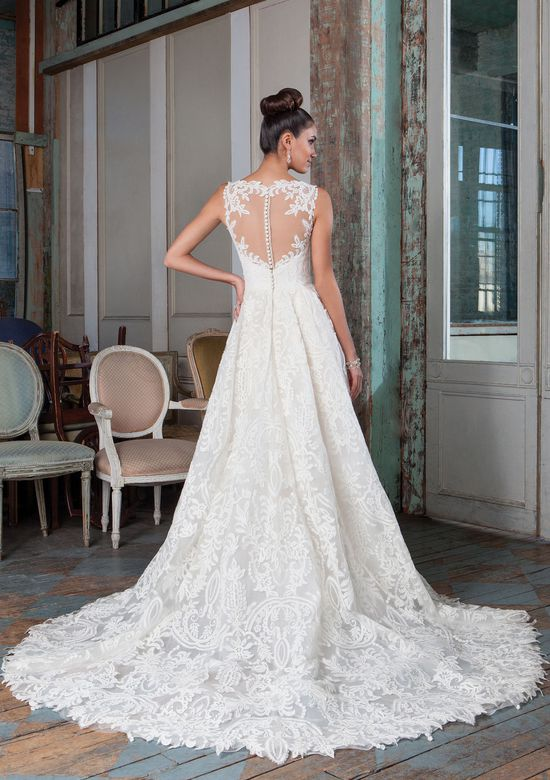 Justin Alexander Signature Style 9818 Embroidered Lace High-Low Bridal Gown