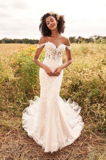 Lillian West Style 66193 Floral Lace Bridal Dress with Detachable Off the Shoulder Straps