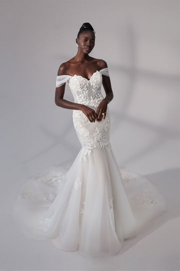 Justin Alexander Signature Style 99182 Portland Trumpet Gown with Beaded Lattice Detail and Detachable Straps