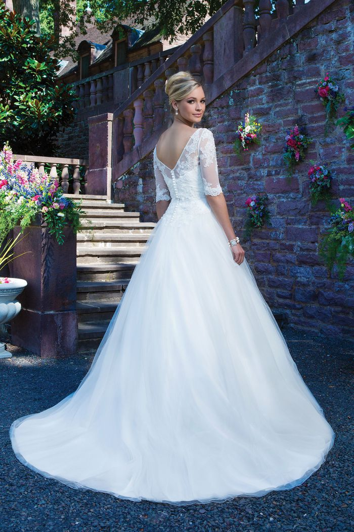Sincerity Bridal Style 3870 Beaded embroidered lace; alencon lace and tulle ball gown accentuated by a sweetheart neckline.