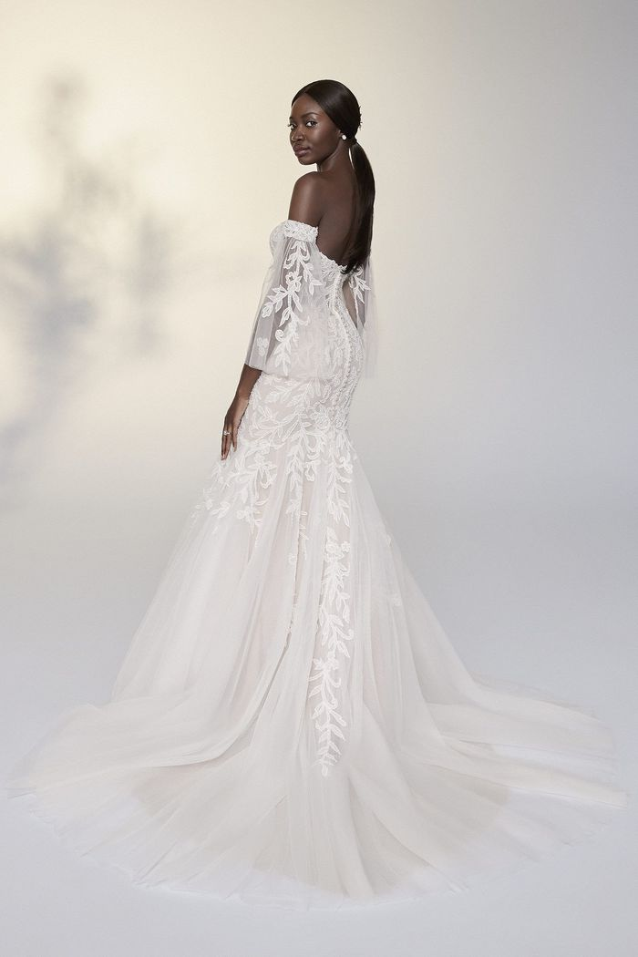 Justin Alexander Signature Style 99207SL Sylvie Sleeves Beaded Off the Shoulder Tulle Flutter Sleeves