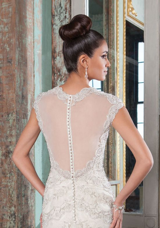 Justin Alexander Signature Style 9808 Beaded Lace Applique Gown with Queen Anne Neckline