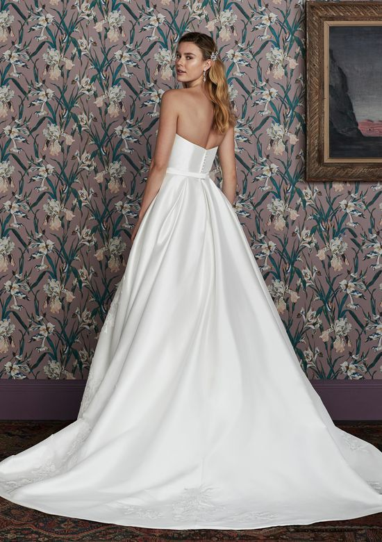 Justin Alexander Signature Style 99144 HAMPTON Mikado Ball Gown with Strapless Notch and Large Floral Appliques