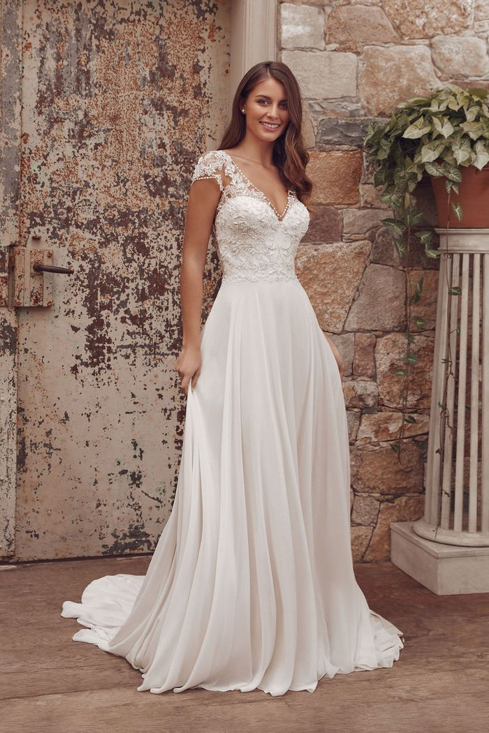 Justin Alexander Style 88157 Ada A-Line Dress with Beaded Trim Neckline and Chiffon Skirt