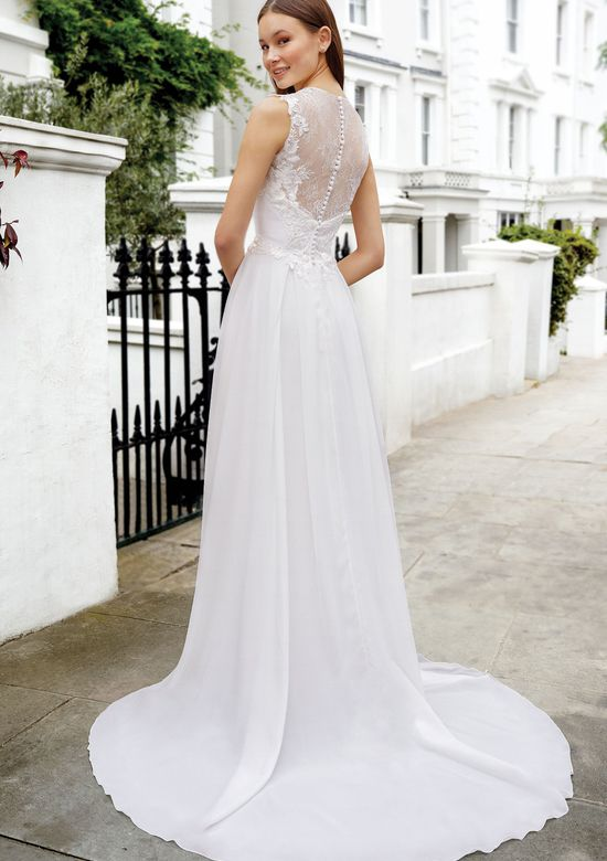 Adore by Justin Alexander Style 11106 Chiffon A-Line with Illusion Chantilly Lace Back