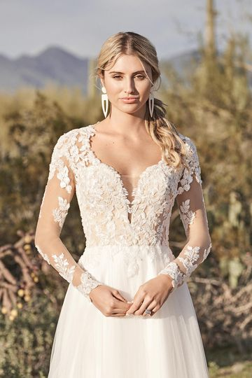 Lillian West Style 66157 Long Sleeve English Net A-Line Dress with Queen Anne Neckline