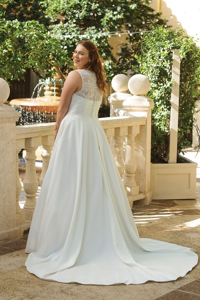 Sincerity Bridal Style 44044 Jewel Neckline Lace Bodice Satin Ball Gown