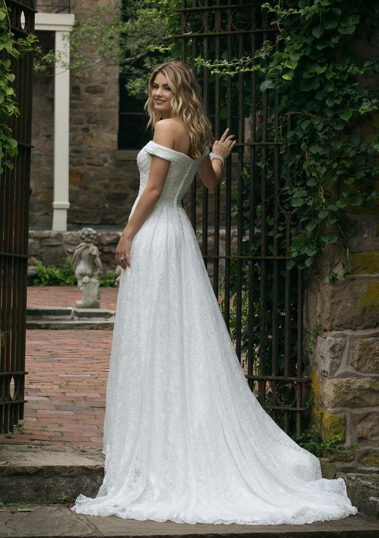 Sincerity style 44049 Allover Ruched Lace Off the Shoulder A-Line Gown