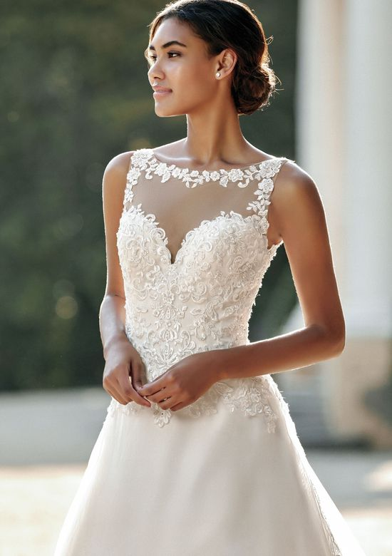 Sincerity style 44116 Illusion Sabrina Organza A-Line Gown with Lace Appliques