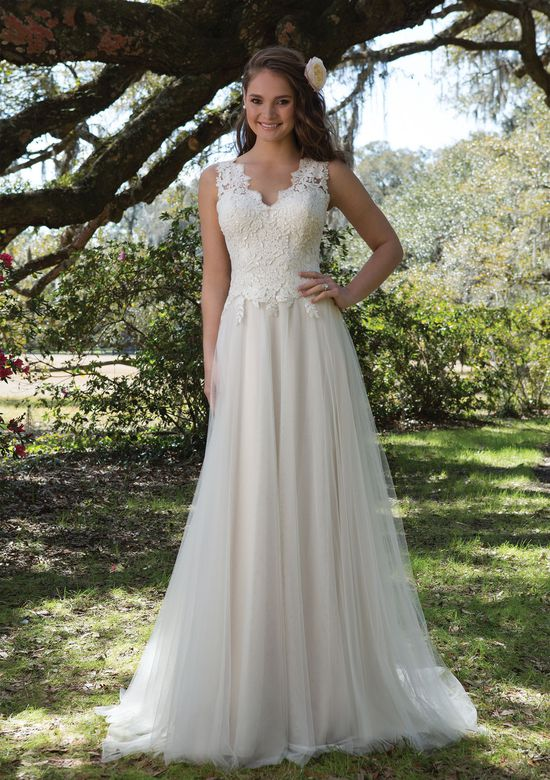 Sweetheart Gowns Style 6171 V-Neck Gown with Sequined Lace and Tulle Skirt