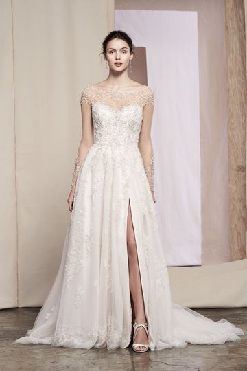 Justin Alexander Signature Style 99087 Hana Beaded A-Line Gown with Metallic Lace