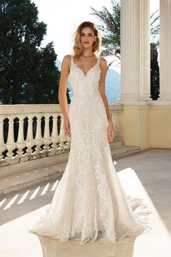 Justin Alexander Style 88088 Sequined Embroidered Lace Fit and Flare Gown