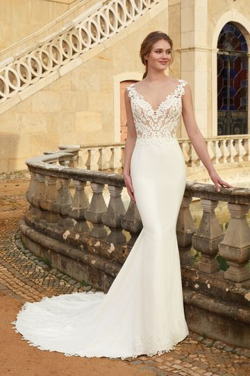 Sincerity Bridal Style 44240 Fit and Flare Dress with Illusion Back and Crepe Skirt