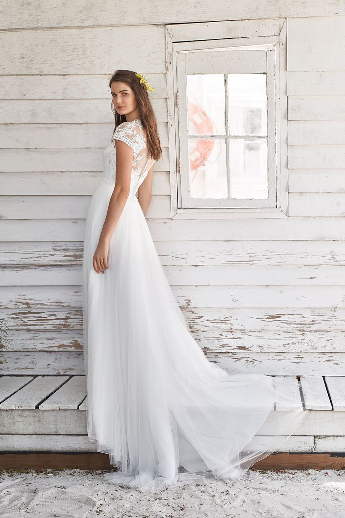 Lillian West Style 66038 Lace Cap Sleeve A-line Gown