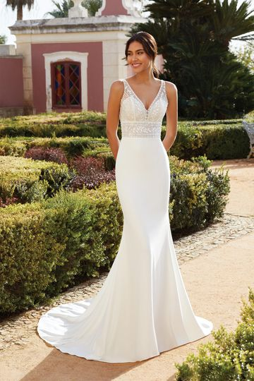 Sincerity Bridal Style 44225 Crepe Fit and Flare Gown with Beaded V-Neck Bodice