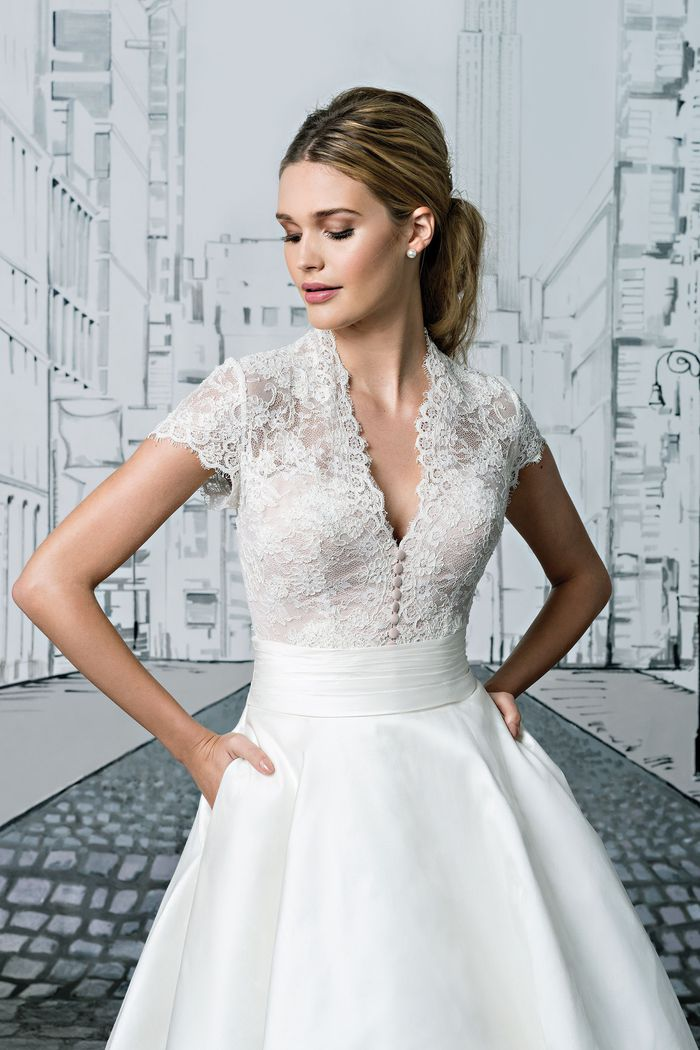 Style 8881 Lace Bodice With Short Sleeves And Silk Tea Length Ball Gown Skirt Justin Alexander