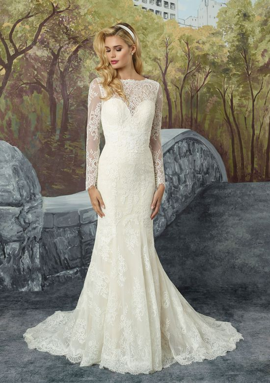 Justin Alexander Chantilly Lace Fit and Flare with Illusion Sleeves and Godet Train