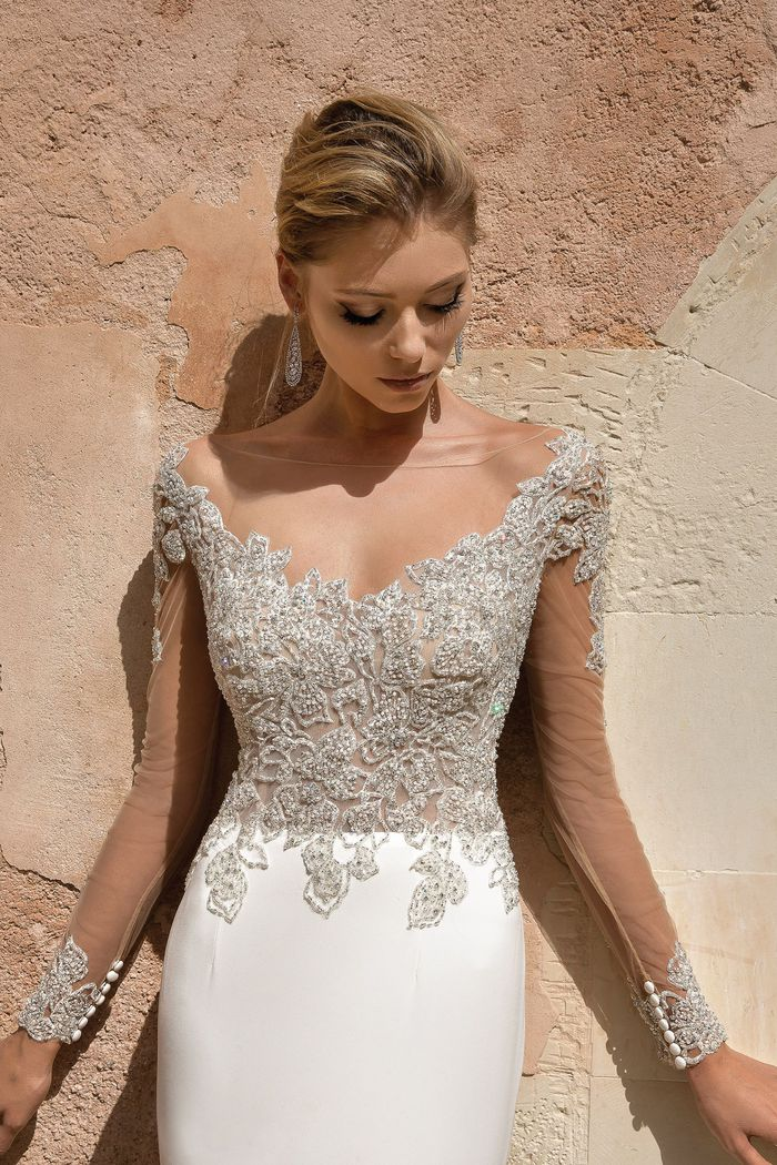Justin Alexander Style 88037 Intricately Beaded Long Sleeve Fit and Flare Gown
