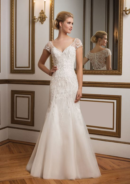 Justin Alexander Style 8846 Intricate Beaded Back and Cap Sleeve Wedding Dress