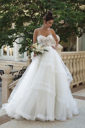 Sincerity Bridal Style 44090 Ball Gown with Beaded Bodice and Full Ruffle Skirt