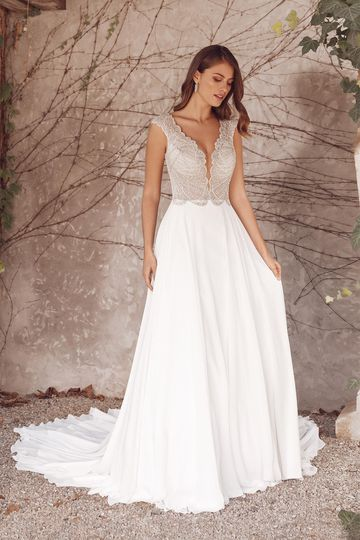 Justin Alexander Style 88147 Adena Chiffon A-Line Gown with Beaded Scallop Bodice and Cap Sleeves