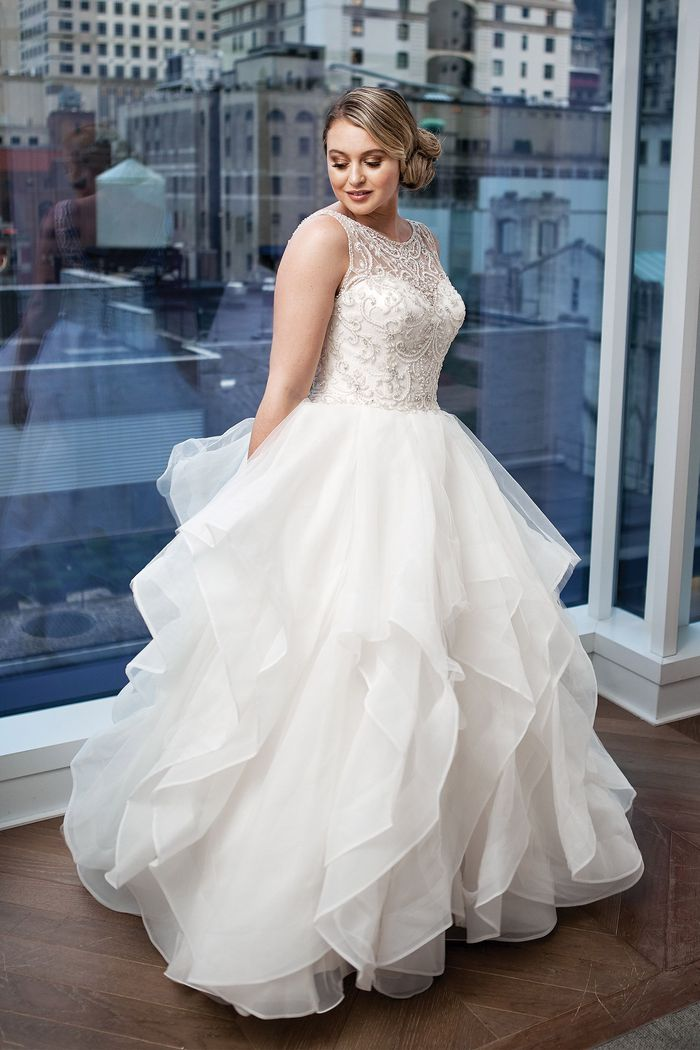 Justin Alexander Signature Style 9847 Opulent Beaded Illusion Bodice and V-Back with Layered Skirt Iskra Lawrence