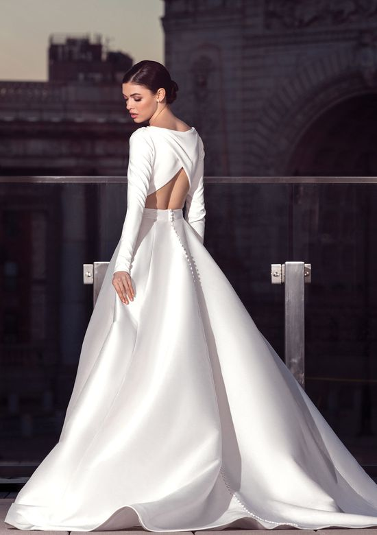 Justin Alexander Signature Style 99040 Long Sleeve A-Line Gown with Shoulder Pleats
